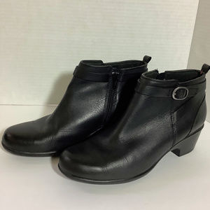 Clarks Black Leather Ankle Boots
